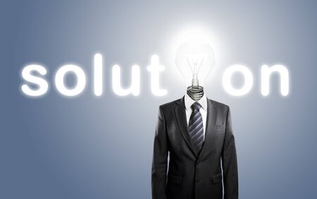 man with lamp-head, concept solution photo