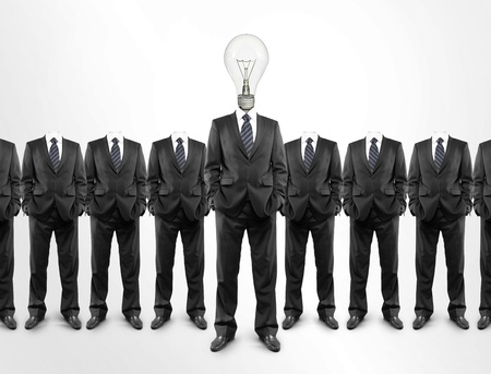 team of businessmen with a lightbulb in  head photo