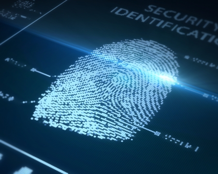 fingerprint: fingerprint is being scanned on a blue background
