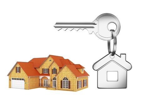 House and house key on white background photo