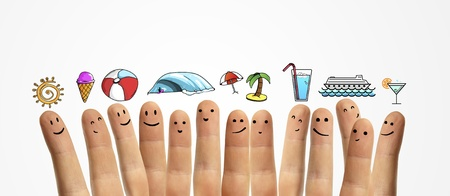 happy  group finger smileys with vacation  symbol photo