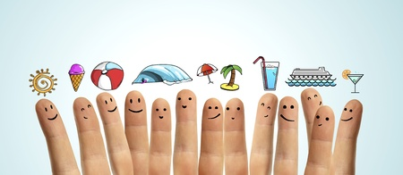 happy  group finger smileys with travel  symbol photo