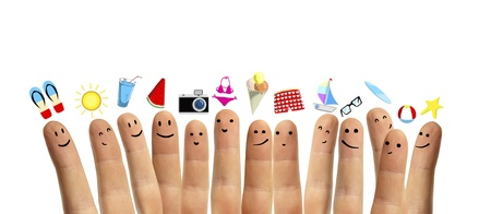 finger smileys with travel  symbol photo