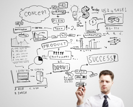 Businessman drawing plan strategy success photo