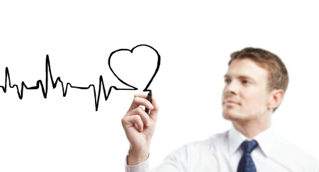 health care decisions: young businessman drawing chart heartbeat