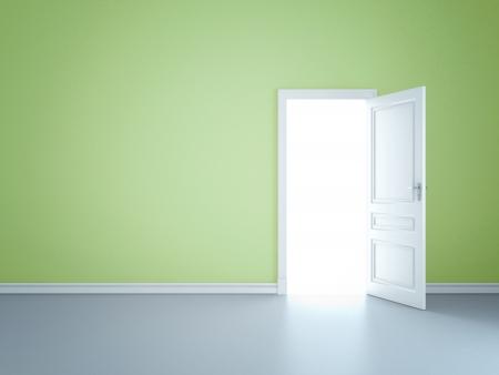 puerta abierta: Green pared con puerta abierta