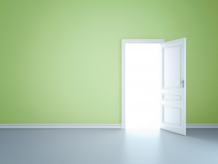 Green wall with opened door Stock Photo - 14206267