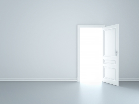 doors open: grey wall with opened door Stock Photo