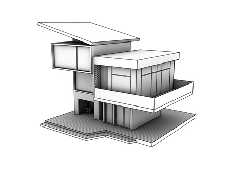 residential district: drawing of cottage on a white background