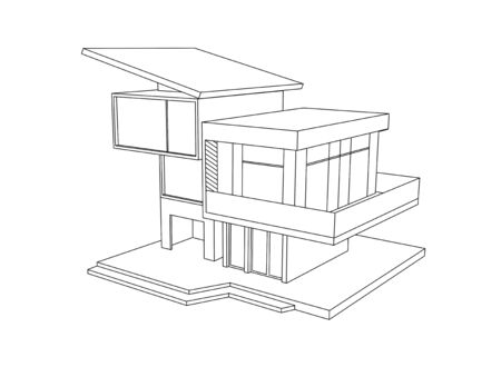 luxury house exterior: drawing of house on a white background