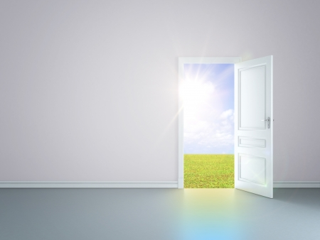 grey room with an open door in field Stock Photo - 14205910