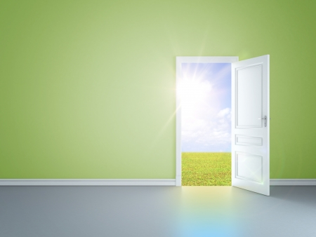 door way: green room with an open door in field
