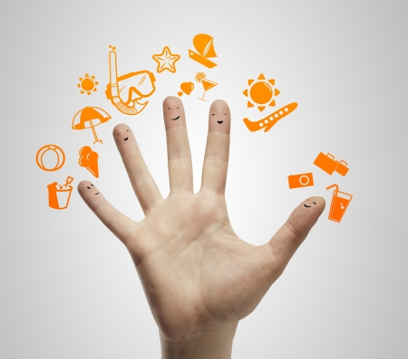 hand with fingers  smileys dream travel Stock Photo - 14206347
