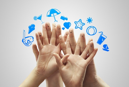 hand with fingers  smileys dream travel Stock Photo - 14206375
