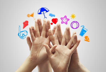 group finger smileys with travel symbol Stock Photo - 14206372