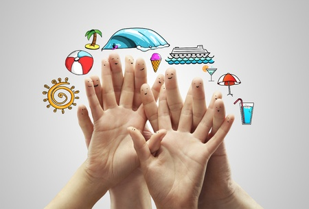 group finger smileys with travel sign Stock Photo - 14206382