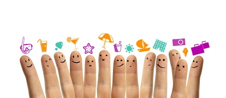 group finger smileys with vacation symbol, isolation photo