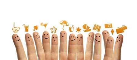 group finger smileys with vacation symbol photo