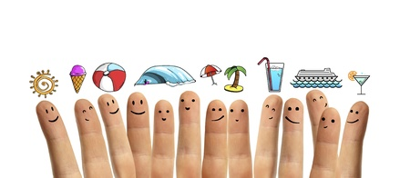 group finger smileys with vacation symbol on a white background photo