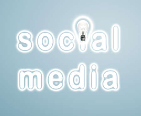concept social media and lamp on a blue background photo
