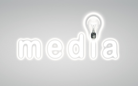 lamp and word media. concept photo