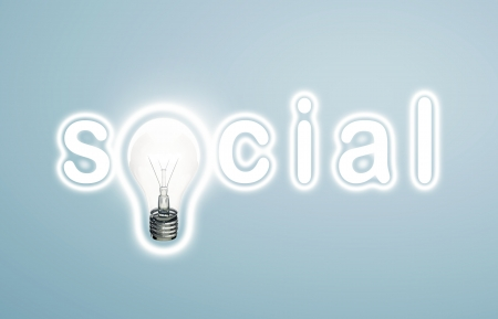 lamp and word social. concept photo