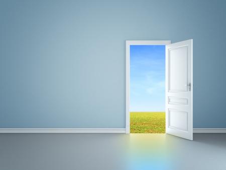 abrir puerta: habitaci�n azul con una puerta abierta en el campo