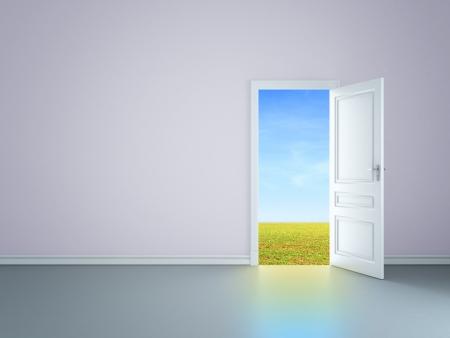 room with an open door in field photo