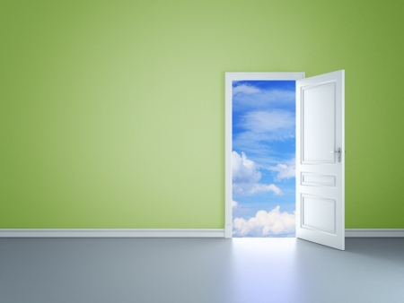 green room with an open door in sky photo