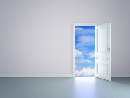 doorways: room with an open door in sky Stock Photo