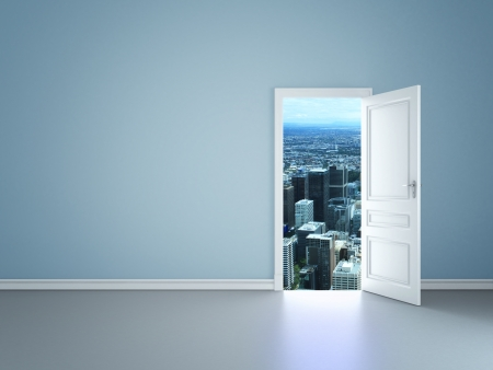 opening door: blue room with an open door to city Stock Photo