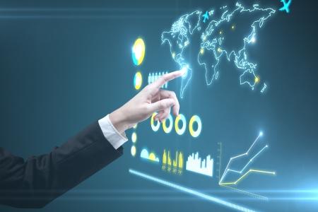 businessman hand pushing interface, closeup photo