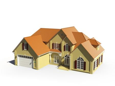 garage door: yellow cottage with orange roof