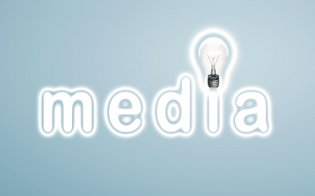 lamp word media on a blue background photo