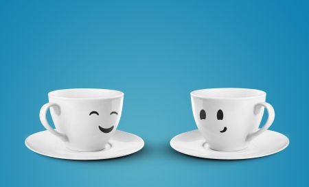 two happy cups on a blue background photo