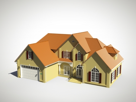 3d model of house with  îrange roof photo