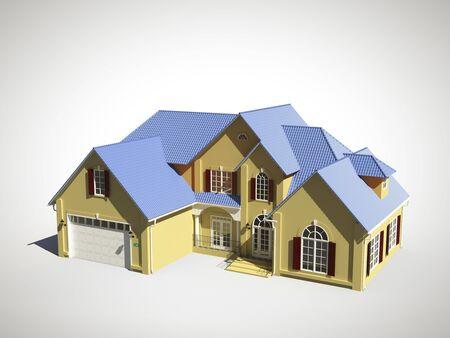 garage door: 3d model of house with  blue roof Stock Photo