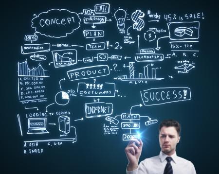 man drawing plan strategy success photo