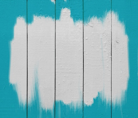 white paint brush strokes on blue wooden plank Stock Photo - 14332858