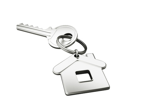 nobody real: house key isolated on white background