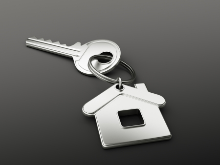 residential structures: house key on black background