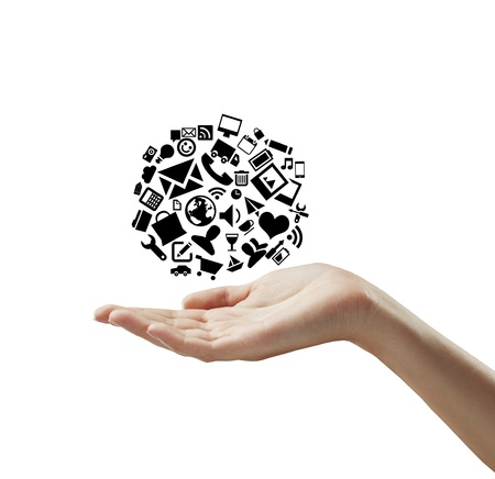group icon: hand holding cloud icons on a white background