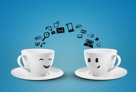 social drinking: two cups social media concept  isolated