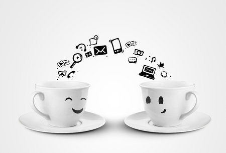 social network: happy cups social media concept  isolated