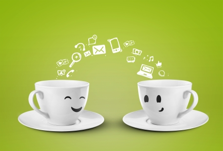 messenger: two happy cups, social media symbol Stock Photo