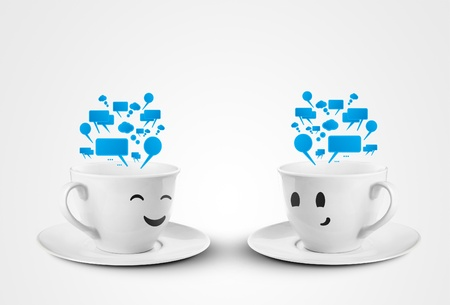 happy cups with speech bubbles photo