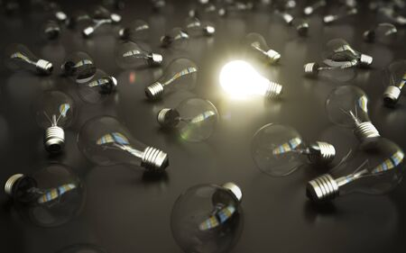 idea concept, glow among other light bulb Stock Photo - 14473401