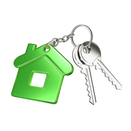 dwelling: key with green key chain in form of house Stock Photo