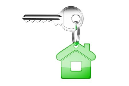 key with green key chain in form of house Stock Photo