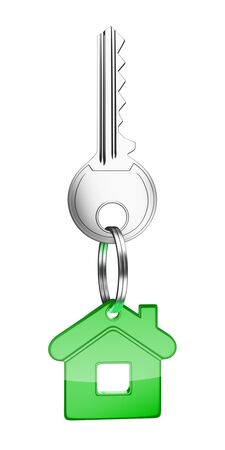 key in chain: key with green key chain in form of house Stock Photo